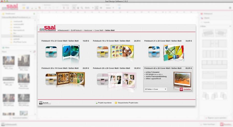 saal-Digital Software Buchauswahl